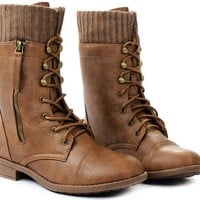 Justina Leatherette Sweater Cuff Lace Up Decor Zip Mid Calf Ankle Combat Boots
