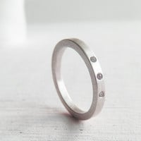 modern wedding band - three diamond palladium sterling silver engagment ring - his and hers - his and his - hers and hers