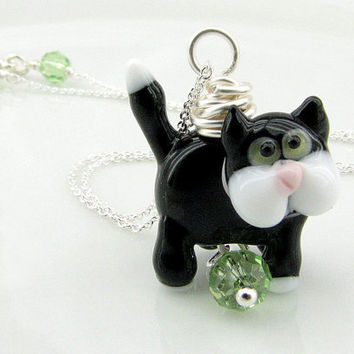 Black Cat Jewelry, Lampwork Glass Bead, Sterling Silver Necklace, Unique and One of a Kind