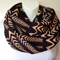 Illusion Waves Infinity Scarf - Hand block printed, All Natural Vegetable Dyes, 100% Cotton Loop Scarf, Infinity Cowl, Tube Scarf0