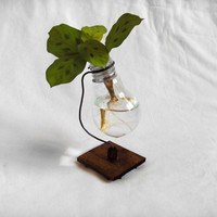 Recycled light bulb vase wooden stand upcycled