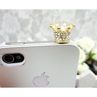 Dust Plug-earphone Jack Accessories Crystal Queen Crown / Cell Charms / Dust Plug / Ear Jack for Iphone 4 4s / Ipad / Ipod Touch / Other 3.5mm Ear Jack