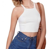 LUCLUC White Back Criss-Cross Sleeveless Bodycon Crop Tops - LUCLUC