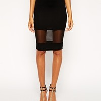 ASOS Pencil Skirt With Sheer Panel