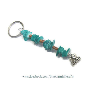 I Love Dogs Keychain - Dog Lovers Gift - Hand beaded - Teal and Wood