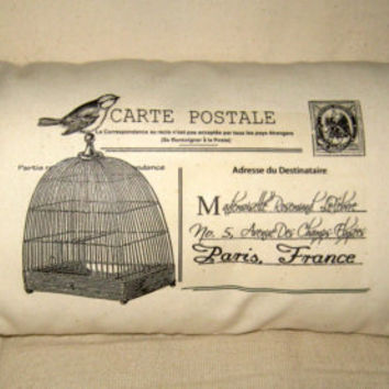 French Birdcage Postcard Pillow Hand Sewn by frenchcountrydesigns