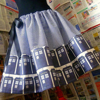 Dr Who Dress, Dr Who Skirt, Tardis Skirt, ORIGINAL Skirts From ROOBYS, Geek Clothes