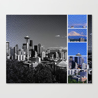 Seattle Blue Grey Mosaic Canvas Print by Christine Aka Stine1