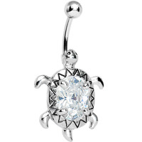 Crystal Clear Cubic Zirconia Sea Turtle Belly Ring   Body Candy Body Jewelry