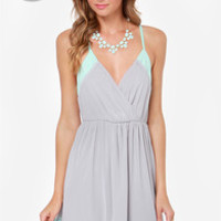 LULUS Exclusive Raise the Stakes Mint and Grey Dress