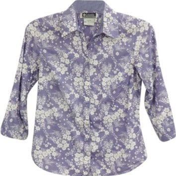 Columbia Purple And White 3/4 Sleeves Pearl Snaps Size S Floral Blouse Shirt Button Down Shirt