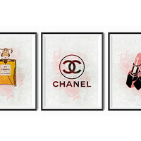 Chanel Digital illustration Gold Chanel No. 5 Set of 3 Chanel Perfume Coco Chanel Paris French Dorm Art watercolor Bathroom Art Shabby Chic