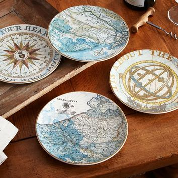 JOURNEY SALAD PLATES, MIXED SET OF 4