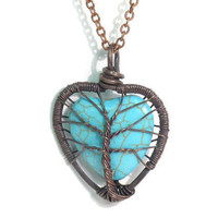 Tree Love A Heart Shaped Turquoise Stone Tree of by sageANDindie