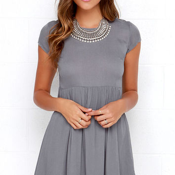 Wholehearted Grey Babydoll Dress