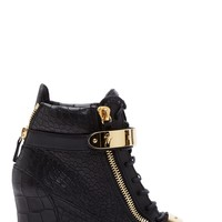 Giuseppe Zanotti Black Leather Croc-embossed Lorenz Wedge Sneakers