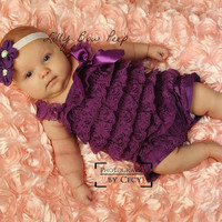 Valentines Day Outfit-Fancy Vintage Purple Lace Petti Romper -Flower Headband-Baby Girl-Preemie-Newborn-Infant-Child-Toddler-Baptism-Wedding