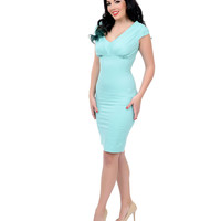 Preorder -  Unique Vintage 1950s Style Mint Green Bettie Fitted Pencil Dress