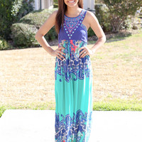 Tangled Up in Blue Maxi - Turquoise