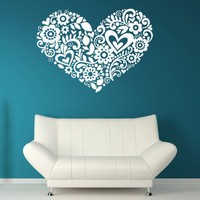 Heart of Hearts and Flowers Vinyl Wall Art by VinylWallAccents