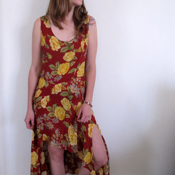 High Low Sundress Womens Ling Hi Lo Red Yellow FLowers Floral Print Low Back MIni Babydoll Maxi Grunge 90s Style