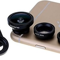 [New Clip One] VicTsing® Clip 180° Fish-Eye Lens+Wide Angle Lens+Micro Lens 3-in-1 Easy-Use Camera Lens Kits (Black) for iPhone 6 6 Plus 5 5C 5S 4S 4 3GS iPad mini iPad Air 4 3 2 Samsung Galaxy S4 S3 S2 Note 3 2 1 Sony Xperia L36h L36i HTC ONE Phones with