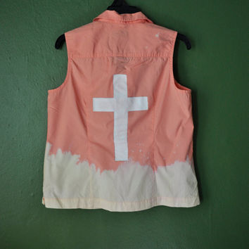 Peach Dip Dyed Bleached Vest with Hand Painted Cross Size Medium