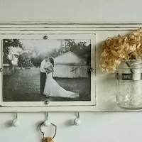 Shabby Chic White Wood Picture Frame...Key Organizer....Mason Jar Shelf..Made to Order