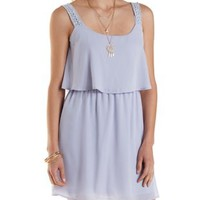 Pink Crochet Strap Layered Dress by Charlotte Russe