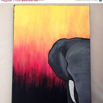 ON SALE Elephant Sunset // hand painted canvas art // made to order