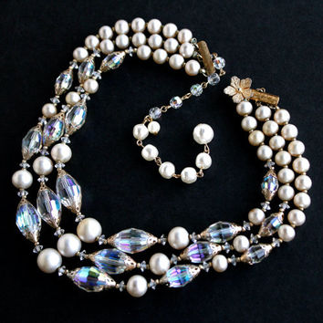 Vintage Pearl  & Crystal Necklace -  Triple Strand Faux Pearl Aurora Borealis Bead Costume Jewelry Signed Vendome / Radiant Layers