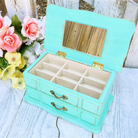 MINT Jewelry Box - SHABBY CHIC Upcycled Mint Green Wood Jewelry Box