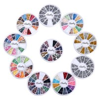 Nail Decorations By Cheeky- 10 Nail Decoration Wheels of Premium Manicure Nail Art Decorations in Many Different Colors and Shapes