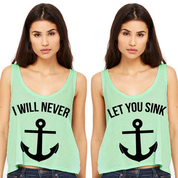 Mint Green Cropped Tank Top - I Will Never Let You Sink Summer Outfit Beach Tank Best Friends Duo