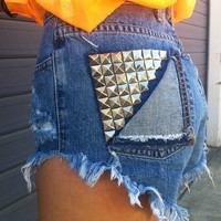 Vintage High Waisted Jean Shorts and Studded Fold-Over Pocket