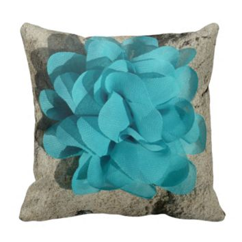 Turquoise fabric flower pillows