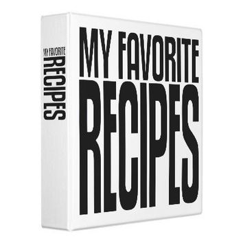 Avery Binder, My Favorite Recipes, Black text from Zazzle.com