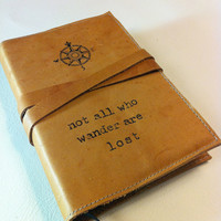 leather journal handprinted custom for you comp/not all by inblue