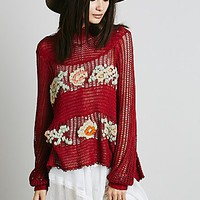 Free People Womens FP New Romantics Everything is Rosey Pullover - Red