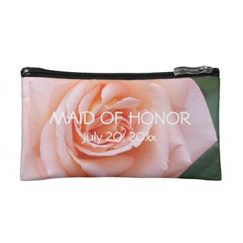 Blushing Rose Maid of Honor Cosmetic Bags