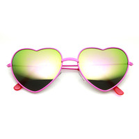 Women's Color Coated Heart Shaped Metal Frame Revo Mirror Lens Sunglasses 9563