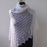 White lace hand knitted wedding shawl with 930 beads