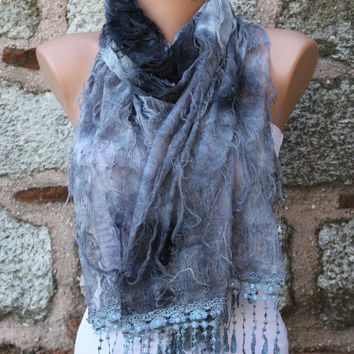 """Gray Scarf -  Cowl with Lace Edge """"Butterfly effect"""""""