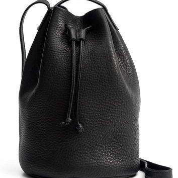 Black Drawstring Leather Purse
