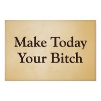 Make today your bitch poster from Zazzle.com