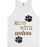 Runs With Wolves-Unisex White Tank