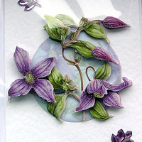 "Hand Crafted 3D Decoupage Card, Blank for any Occasion (1807) ""Purple Flowers"""
