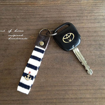 Nautical anchor unisex leather keychain key holder handmade zakka