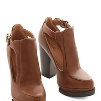 ModCloth Vintage Inspired Tremendous Talent Bootie in Cognac