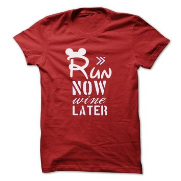 Run now wine later T-Shirt LifeStyle.